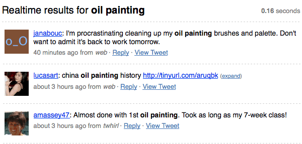twitter search, oil painting