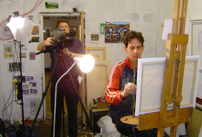 Malcolm Croft being filmed in his studio by the BBC