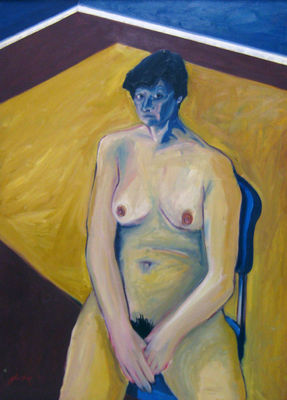 Nude with yellow carpet by Ray Johnstone