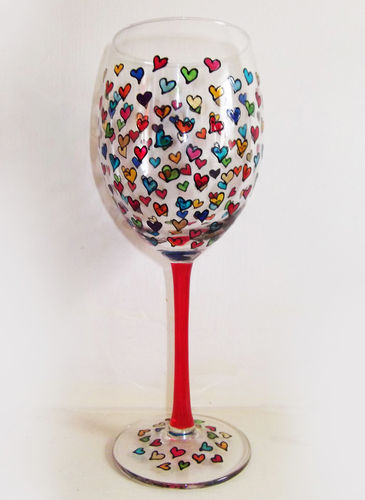 Hand Painted Wine Glass with Hearts Design by Louise Poulsom