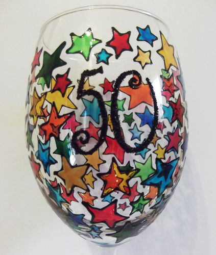50th Birthday Hand Painted Wine Glass by Louise Poulsom