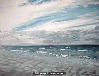 Kite Surfing by  Karen Nelson
