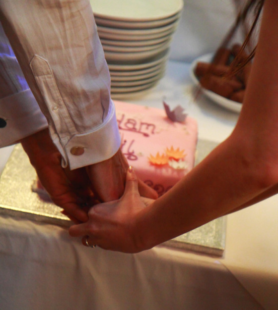 Bride and Groom Cut the Cake by Adrian Holloway