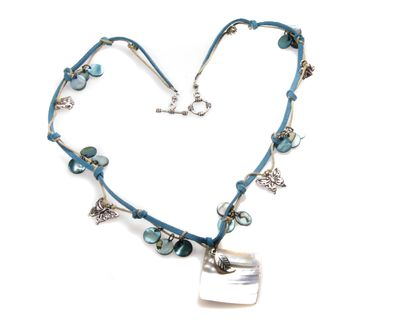 Blue Suede Necklace by Mihaela Zhekova