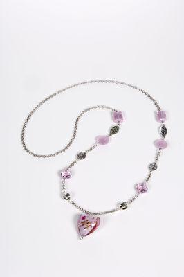 Pink Heart Necklace by Mihaela Zhekova