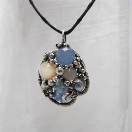 Stunning Pearl, Quartz and Agate Pendant by Christine Plumb