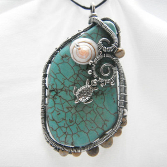 Stunning Turquoise and Picture Jasper Freeform Pendant by Christine Plumb