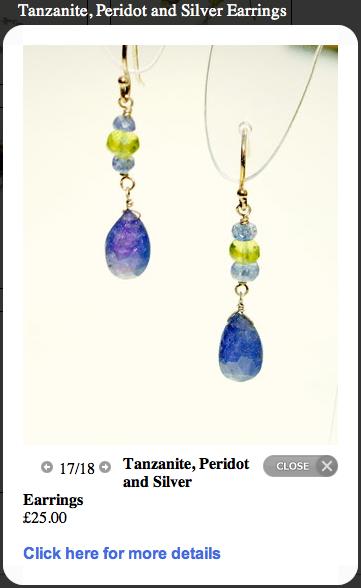 Screen shot of Tanzanite, Peridot and  Silver Earrings