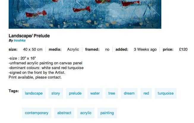 Screen shot of  Iroshka's artwork