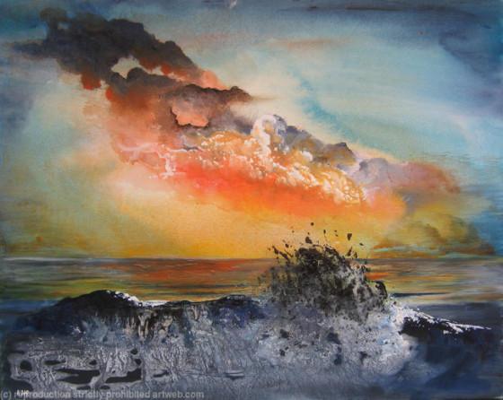 Kezia Noel-Paton - Wave Breaking Against A Rock, Sunset (oil on board)