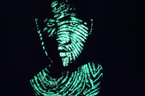 Kyle Theo,  self-portrait-finger print,  Luminous pigment, Chinese ink paste on paper, 150 x 100 cm  (In the dark)