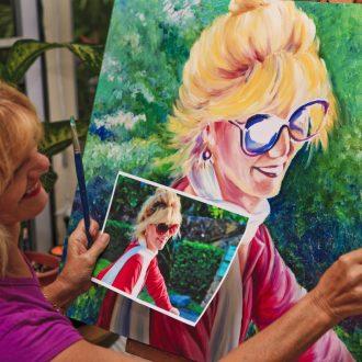 Artist painting a self-portrait