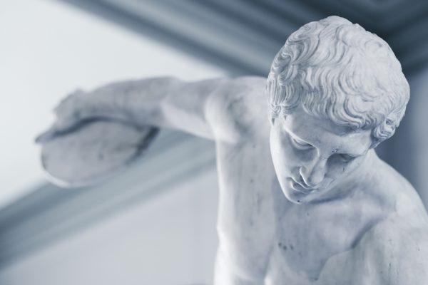 Discus thrower Greek statue closeup