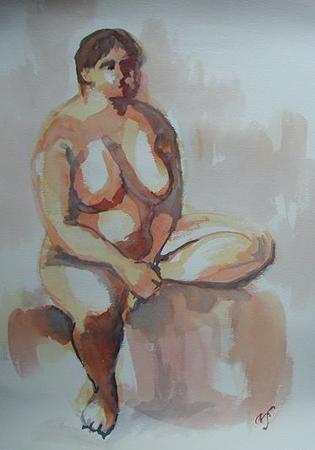 Sitting Nude by Noriko Sasaki via Artweb