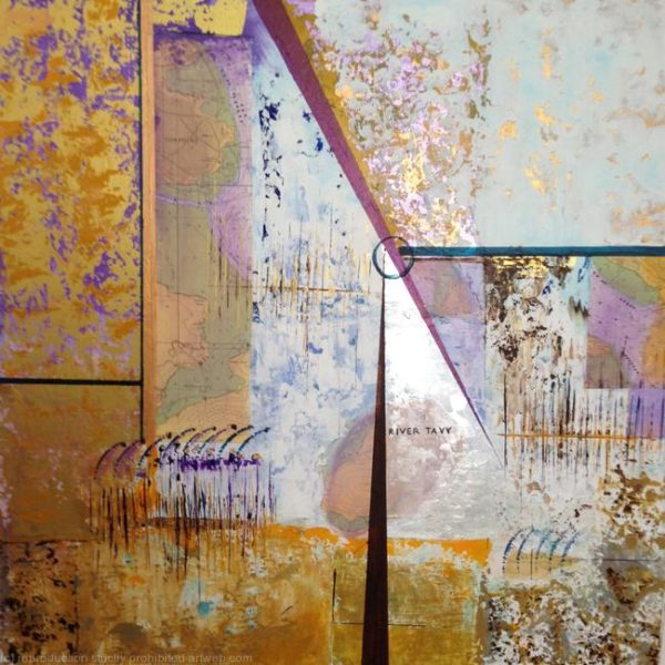 gold, purple and white abstract painting