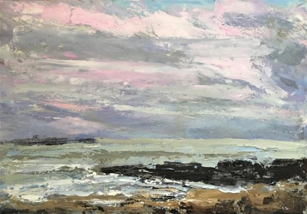 oil on paper, pink clouds and waves