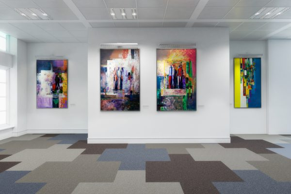 abstract art series hung in a gallery