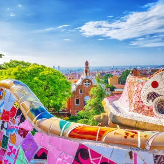 Mosaic at Park Guell in Barcelona by Antoni Gaudi
