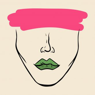 incognito woman face with green lips and pink brushstroke on face - women artists surrealism