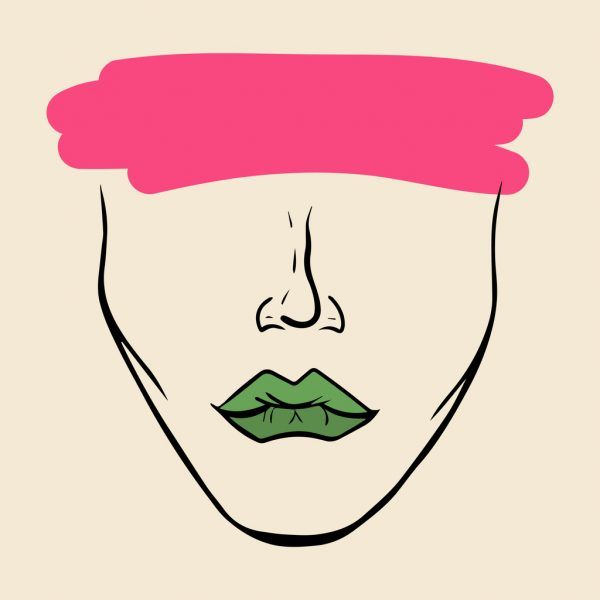 incognito woman face with green lips and pink brushstroke over eyes