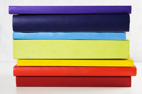 colourful stack of artist's books