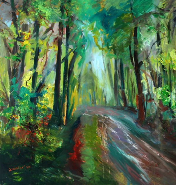 Painting with lots of green of a forest after the rain