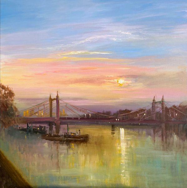 Painting of the Albert Bridge at sunrise, Thames River