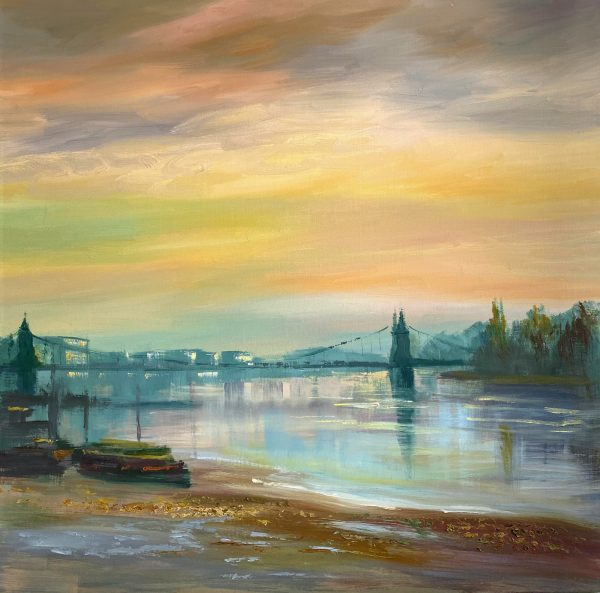 Painting of Hammersmith Bridge across the river Thames on a misty morning