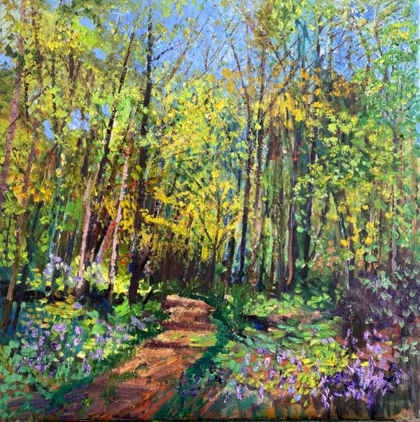 Painting of a forest with blooming trees and flowers in the spring