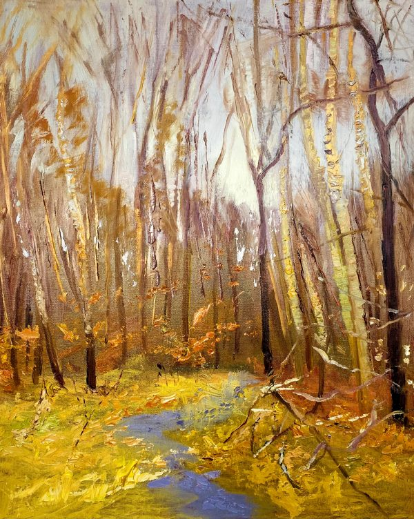painting of fall trees without leaves at Wimbledon Common