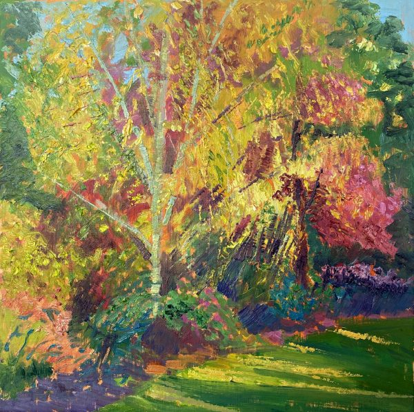 Colourful painting of nature in Wisley in the spring